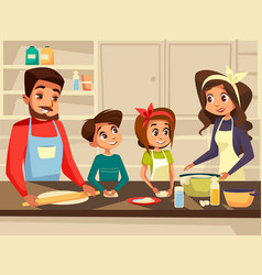 Modern european family cooking at kitchen vector