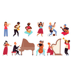 musicians characters flat pop star young people vector image