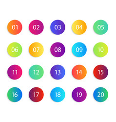 Number with circle gradient round icons set vector
