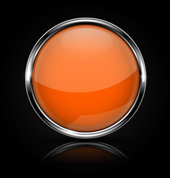 Orange glass button with chrome frame on black vector