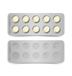 Pack of yellow pills isolated on white vector