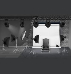 photo studio interior with empty armchair vector image