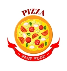 Pizza fast food isolated pizzeria icon vector