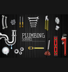 Plumber service icons set on wooden background vector