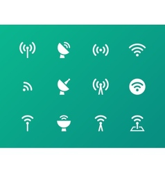 Radio Tower icons on green background vector
