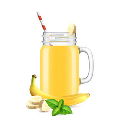 realistic banana smoothie composition vector image