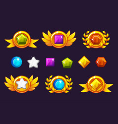 Receiving achievement awards coin and gems set vector