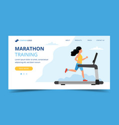 running landing page template woman running on vector image