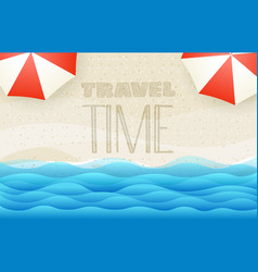 sandy beach top view travel time concept vector image