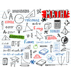 school mathematics doodles set vector image