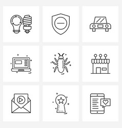 Set 9 ui icons and symbols for animal laptop vector