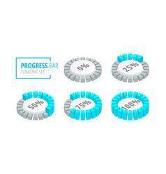 set circular progress loading bar isometric vector image