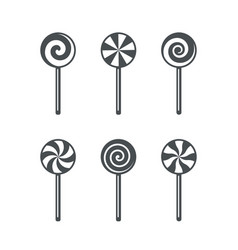Set lollipop candy outline icons isolated vector