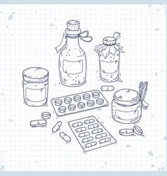 set medical drugs bottles of medicines and vector image