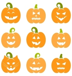 Set of halloween pumpkins isolated on white vector