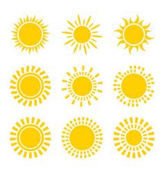 Set yellow sun icon symbols isolated on white vector