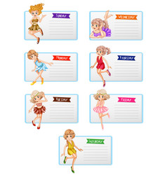 Seven days week template with cute fairies vector