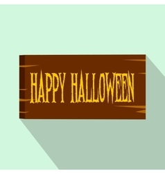 Signboard happy halloween flat icon vector image