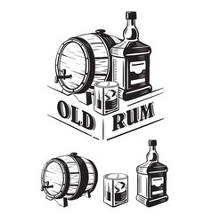 sketch whiskey bottle and glass and barrel vector image