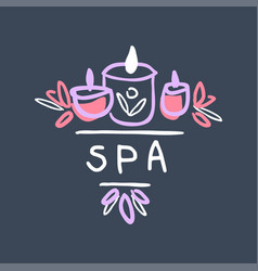 spa logo template emblem with burning candles for vector image