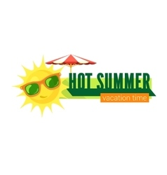 Sun in sunglasses and text vector