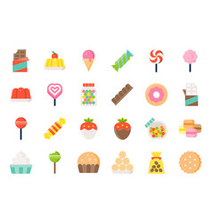 Sweets and candy icon set 12 flat design vector