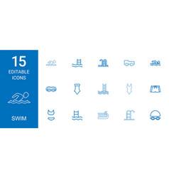 Swim icons vector