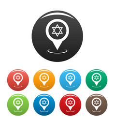 Synagogue map pointer icons set vector