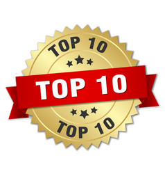 Top 10 3d gold badge with red ribbon vector