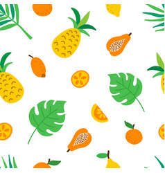 tropical fruits and leaves seamless pattern cute vector image