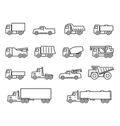 trucks line icons set vector image