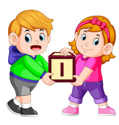 two kids carrying alphabet block vector image