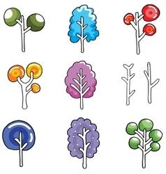 Unique tree set on doodles vector image