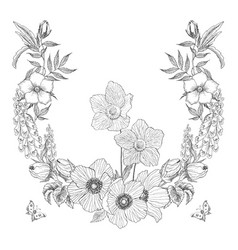vintage frame border monogram floral ornament vector image