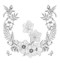 Vintage frame border monogram floral ornament with vector
