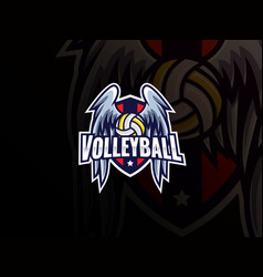 volleyball sport logo design vector image