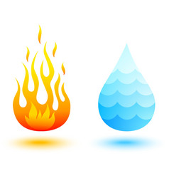 water and fire vector image