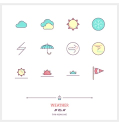 Weather Line Icons Set vector image