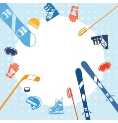 Winter sports background with equipment flat icons vector