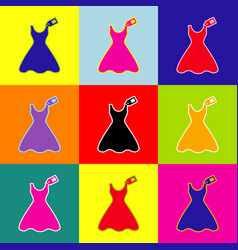 woman dress sign with tag pop-art style vector image