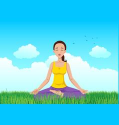 woman meditating on grass field vector image