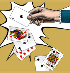 womans hand with playing cards fan vintage vector image