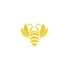 Yellow bee flat icon open wings fly vector