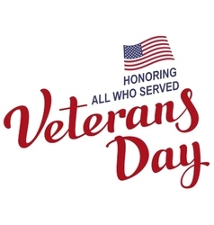 November 11 Veterans Day Lettering text vector image vector image