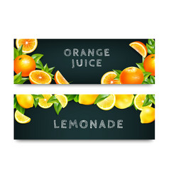 orange juice lemonade 2 banners set vector image vector image