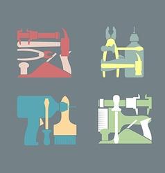 Set logos construction tools vector