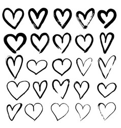 set of hand drawn hearts vector image vector image