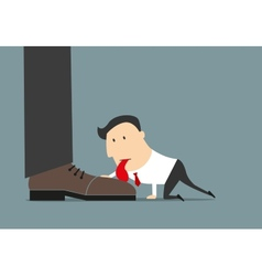 Cartoon flat businessman licking huge boot vector image