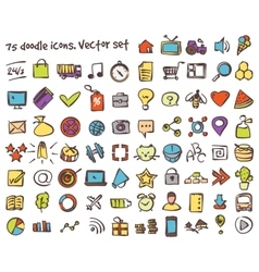 doodle icons set vector image vector image