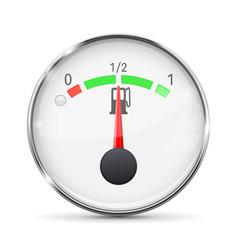 fuel gauge with metal frame half tank vector image vector image